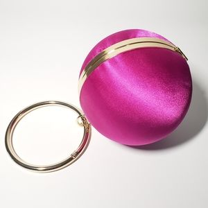 BALL & HOOP Fuschia Pink Satin Clutch - Wristlet